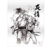 Dragon Ball Z Goku and Krillin with Calligraphy Friendship Poster