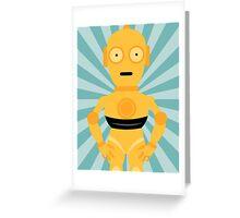 C3PO Star Wars Teal Art Greeting Card