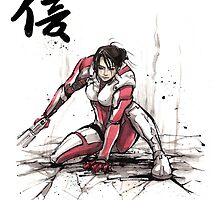 Ashley from Mass Effect 1 Sumi and Watercolor style Japanese calligraphy Faith by Mycks