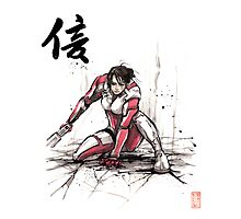 Ashley from Mass Effect 1 Sumi and Watercolor style Japanese calligraphy Faith Photographic Print