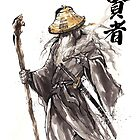 Gandalf Samurai with Sumi ink and watercolor Japanese Calligraphy Magus by Mycks
