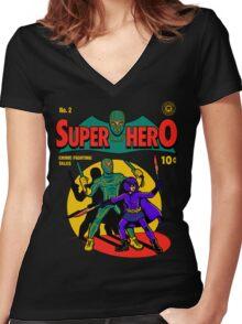 Superhero Comic Women's Fitted V-Neck T-Shirt