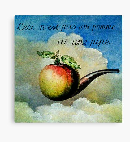 Ceci n'est pas une pomme ni une pipe Canvas Print