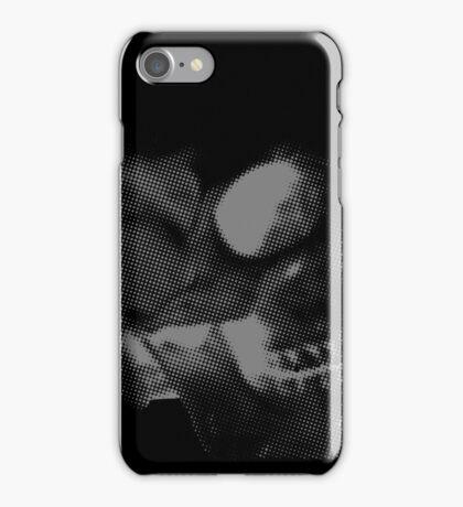 Skull grey on black iPhone Case/Skin