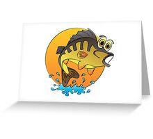 Perch Cartoon Greeting Card