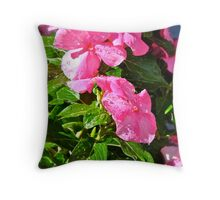 Dewdrops on the Vinca Throw Pillow