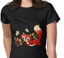 Playful Fox Womens Fitted T-Shirt
