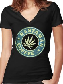 RASTAMAN COFFEE VINTAGE  Women's Fitted V-Neck T-Shirt