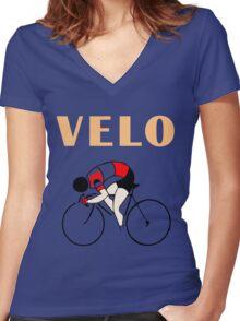 Retro art deco design cycling velo sprint Women's Fitted V-Neck T-Shirt
