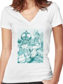 Spaceman and Angel Women's Fitted V-Neck T-Shirt