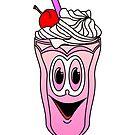 Strawberry Ice Cream Sundae Cartoon by Graphxpro