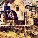 Richard Arkwright's Cromford Waterwheel in the mid 19th century by Dennis Melling