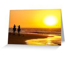 Kids Riding at Mancora's Sunset Greeting Card