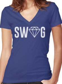 Swag Diamond Women's Fitted V-Neck T-Shirt