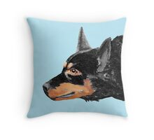 Australian Kelpie Black Portrait Throw Pillow