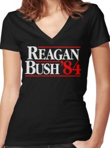 Reagan/Bush '84 Women's Fitted V-Neck T-Shirt