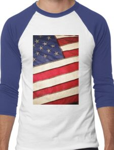 Patriotic American Flag Men's Baseball ¾ T-Shirt