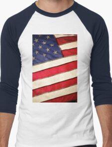 Patriotic American Flag Men's Baseball ¾ T-Shirt
