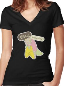 Word, to your Dino' Women's Fitted V-Neck T-Shirt