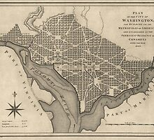 Antique Map of Washington, DC from 1793 by bluemonocle