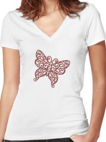 Red filigree butterfly Women's Fitted V-Neck T-Shirt