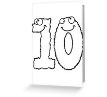 Funny 10 ten comic monsters Greeting Card