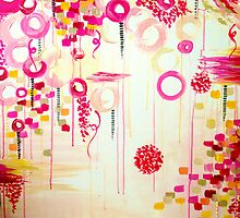 Bubblegum POP! Beautiful Cheerful Bubbles Pretty Pink Feminine Abstract Acrylic Painting Sky by EbiEmporium