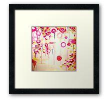 Bubblegum POP! Beautiful Cheerful Bubbles Pretty Pink Feminine Abstract Acrylic Painting Sky Framed Print