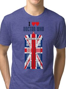 I Heart Doctor Who (Union Jack TARDIS) Tri-blend T-Shirt