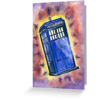 Tardis in flight inspired by Who? Greeting Card
