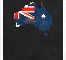 Australia Minimalist Vintage Map with Flag by FinlayMcNevin