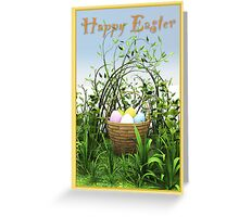 A basket of eggs in the meadow Greeting Card