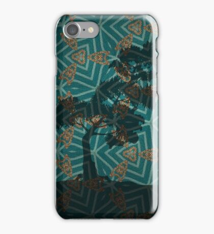 Winter Pine on Gold Embroidered Motif iPhone Case/Skin