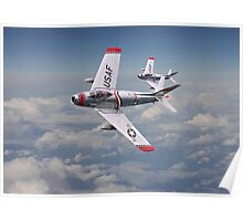 F86 - Sabre - Fighter School pair Poster