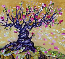 Magnolia Tree Flower Painting Oil on Canvas by Ekaterina Chernova by Ekaterina Chernova