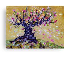 Magnolia Tree Flower Painting Oil on Canvas by Ekaterina Chernova Canvas Print