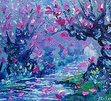 Surreal Landscape Art Pink Flower Tree Painting by Ekaterina Chernova by Ekaterina Chernova