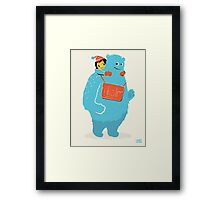 Blue-Monster Piggy-Back Ride Framed Print
