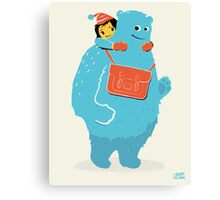 Blue-Monster Piggy-Back Ride Canvas Print