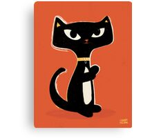 Suspiciously Cute Black Cat Canvas Print