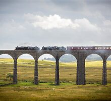 The Fellsman Black Fives Thunder over Riblehead Viaduct by Jan Fialkowski