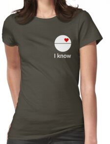 I know (death star) white Womens Fitted T-Shirt