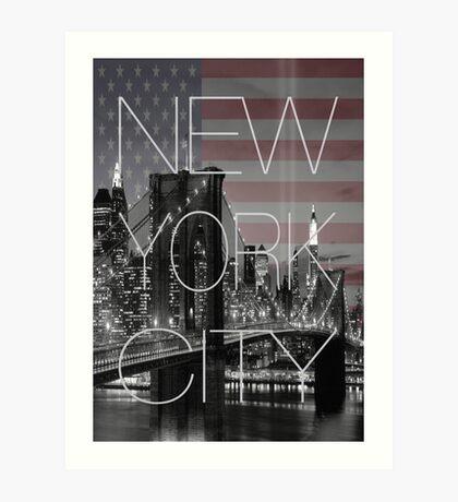 Black and white New York with Usa flag Art Print