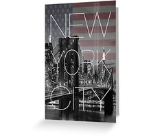 Black and white New York with Usa flag Greeting Card