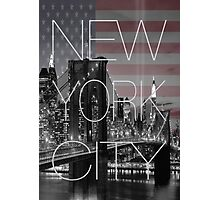 Black and white New York with Usa flag Photographic Print