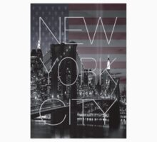 Black and white New York with Usa flag by vinnie107