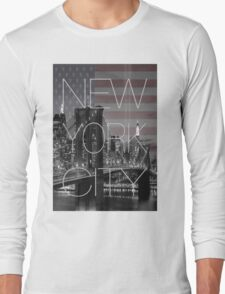 Black and white New York with Usa flag Long Sleeve T-Shirt