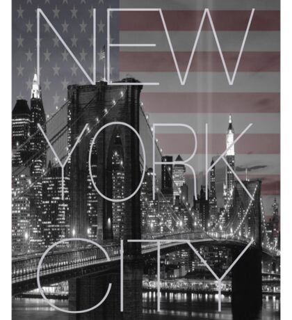 Black and white New York with Usa flag Sticker