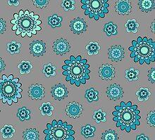 Flower Doodles in Teal Blue with Grey Background by cikedo