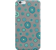 Flower Doodles in Teal Blue with Grey Background iPhone Case/Skin